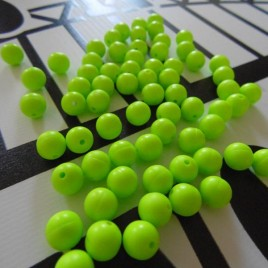 Rig making beads, 8mm florescent green x 100 UK produced
